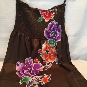 Tube top dress with large floral design